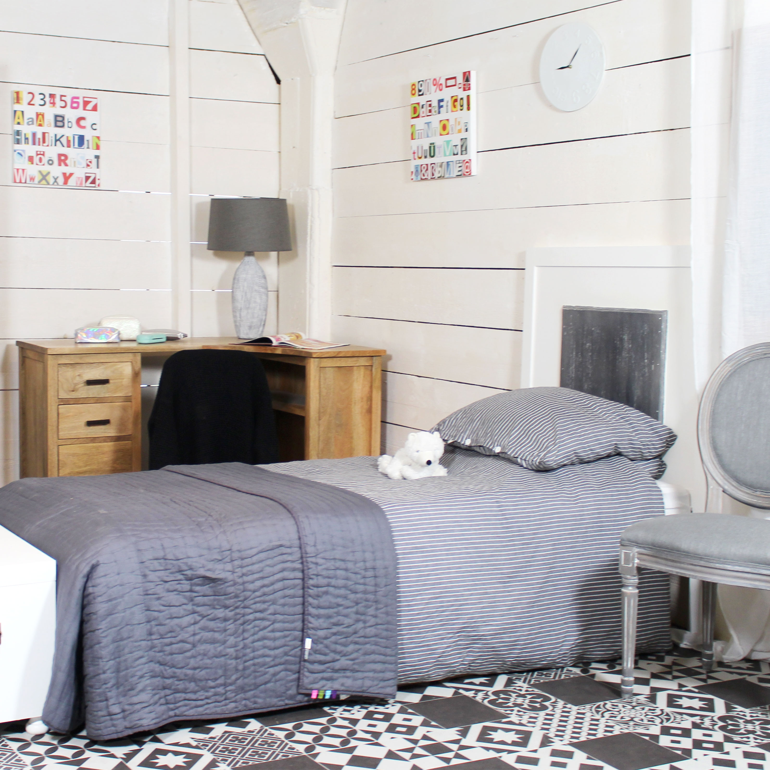 t te de lit mdf blanche et grise 90cm made in meubles. Black Bedroom Furniture Sets. Home Design Ideas