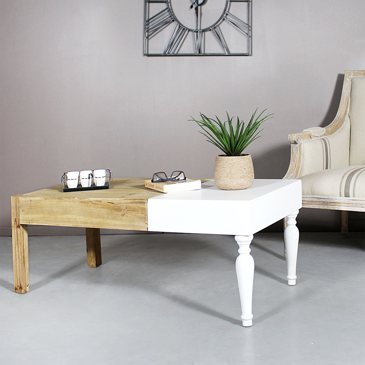 table basse mixte bois