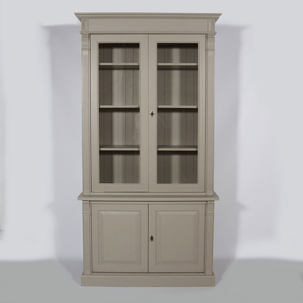 buffet vaisselier bois massif taupe 4 portes made in. Black Bedroom Furniture Sets. Home Design Ideas